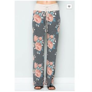 Pants - Gray Floral Casual Lounge Athleisure Pants